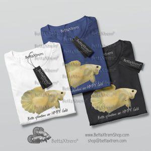 Camisetas de Hombre Betta splendens halfmoon plakat gold